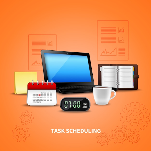 Orange time management realistic Vettore gratuito