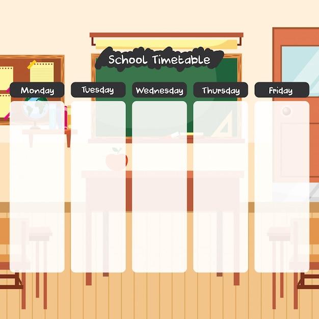 Orario scolastico sul cartone animato dell'aula Vettore Premium