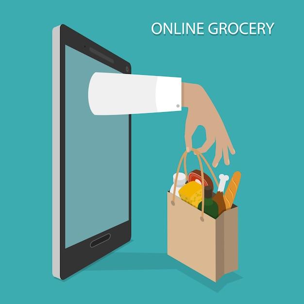 Ordinazione di generi alimentari online, consegna. Vettore Premium