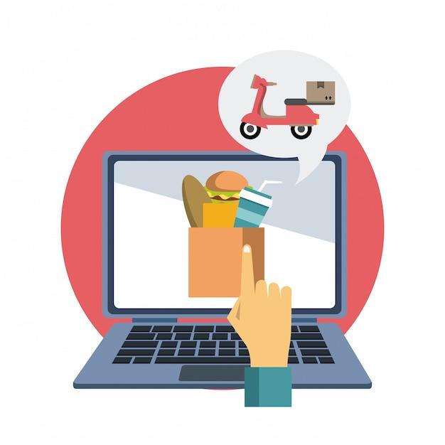Ordine di cibo online Vettore Premium