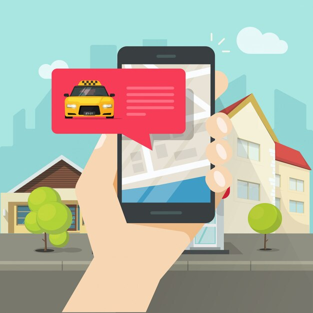 Ordine online del taxi sul cartone piano dell'illustrazione di vettore della città o del cellulare o del cellulare Vettore Premium