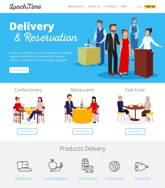 Ordini di consegna online del ristorante Vettore gratuito