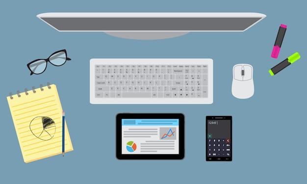 Organizzazione desktop da ufficio con fermo, monitor, tablet. vista dall'alto. Vettore Premium