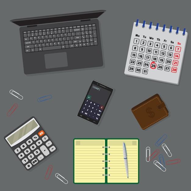 Organizzazione di tavoli da ufficio con laptop, notebook, calendario. vista dall'alto. Vettore Premium
