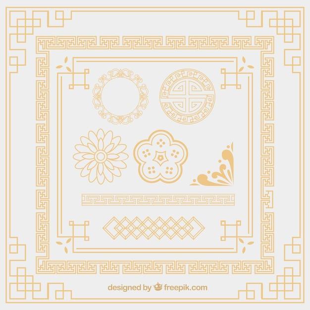 Orientali elementi ornamento Vettore gratuito