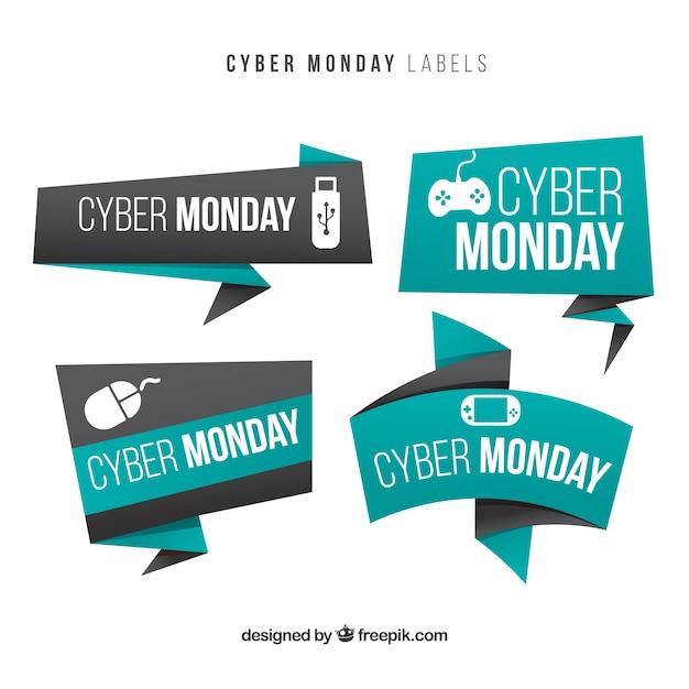 Origami banner di cyber monday Vettore gratuito