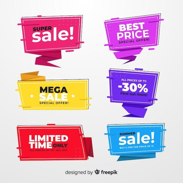 Origami vendita banner collecion Vettore gratuito