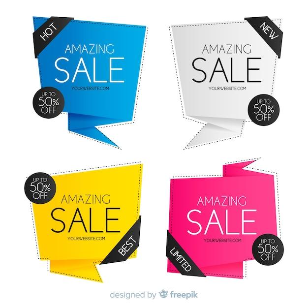 Origami vendita banner collectio Vettore gratuito