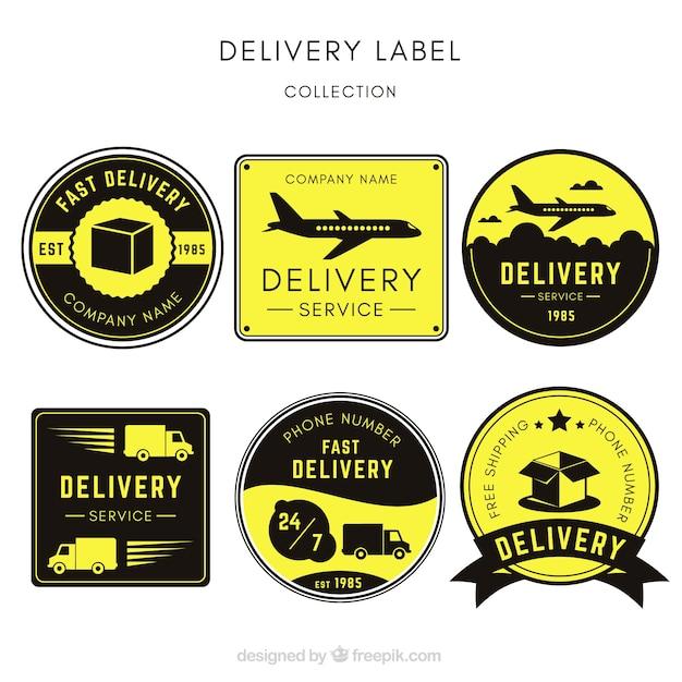 Originale insieme di etichette di consegna dell'annata Vettore gratuito