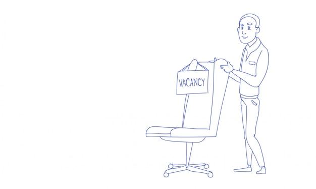 Orizzontale di scarabocchio di schizzo di posto vacante di nuova assunzione dell'uomo d'affari Vettore Premium