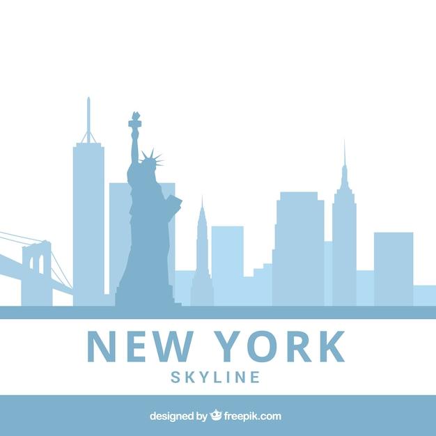 Orizzonte blu-chiaro di new york Vettore gratuito
