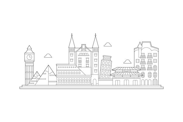 Orizzonte dei punti di riferimento del profilo di paesaggio urbano Vettore gratuito