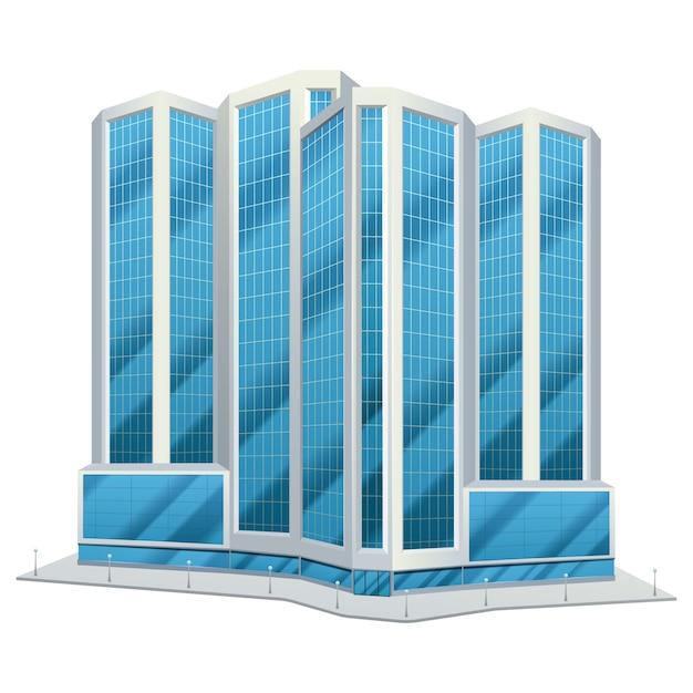 Orizzonte del giorno degli edifici alti del centro degli uffici del centro urbano della città di progettazione della torre di vetro urbana moderna Vettore gratuito