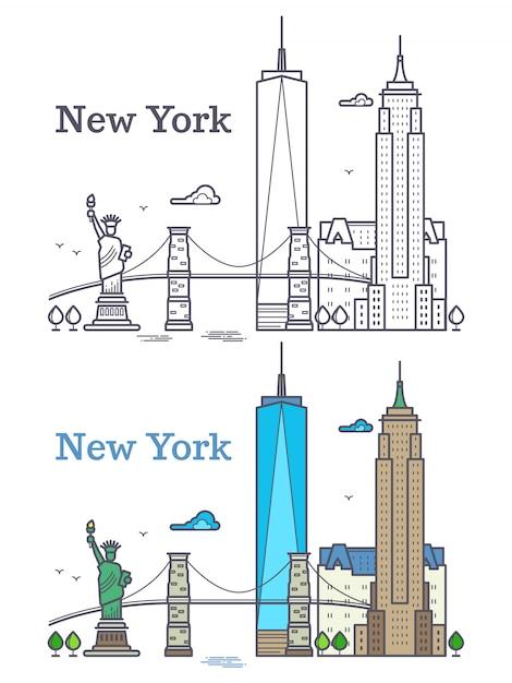Orizzonte del profilo di new york, linea silhouette, concetto di viaggio e turista degli stati uniti Vettore Premium