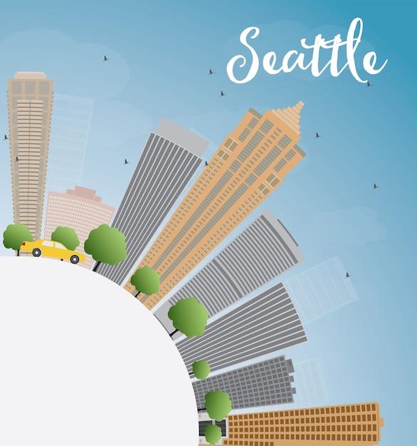 Orizzonte della città di seattle con lo spazio di gray buildings, del cielo blu e della copia Vettore Premium