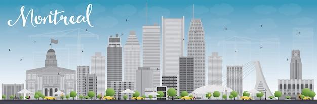 Orizzonte di montreal con edifici grigi e blu cielo Vettore Premium