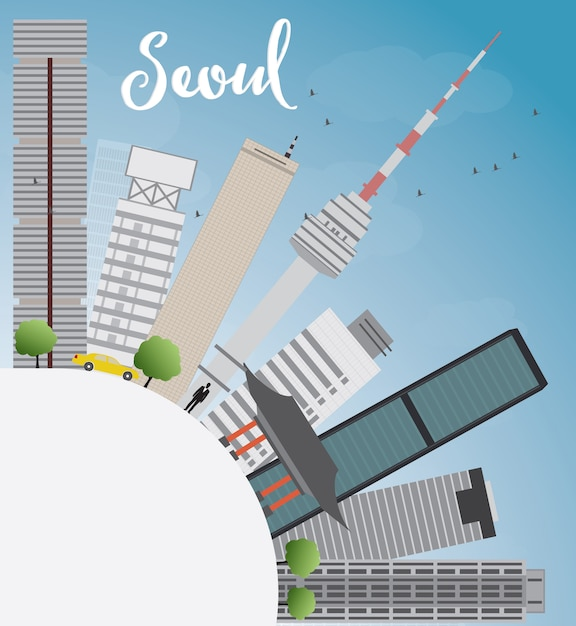 Orizzonte di seoul con lo spazio grigio della costruzione, del cielo blu e della copia Vettore Premium