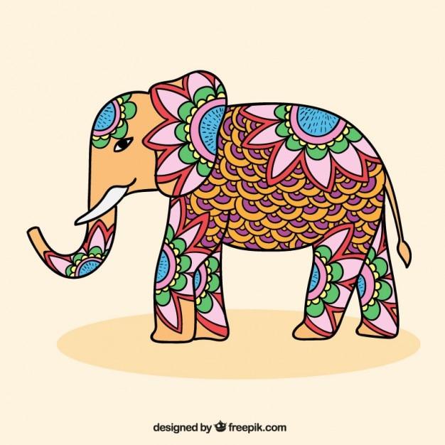 Ornamentale elefante indiano Vettore gratuito