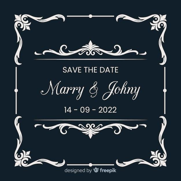Ornamentale salva la data invito a nozze Vettore gratuito
