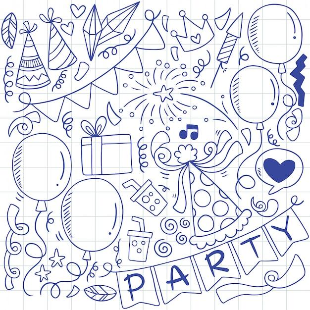 Ornamenti di buon compleanno festa doodle disegnato a mano Vettore Premium