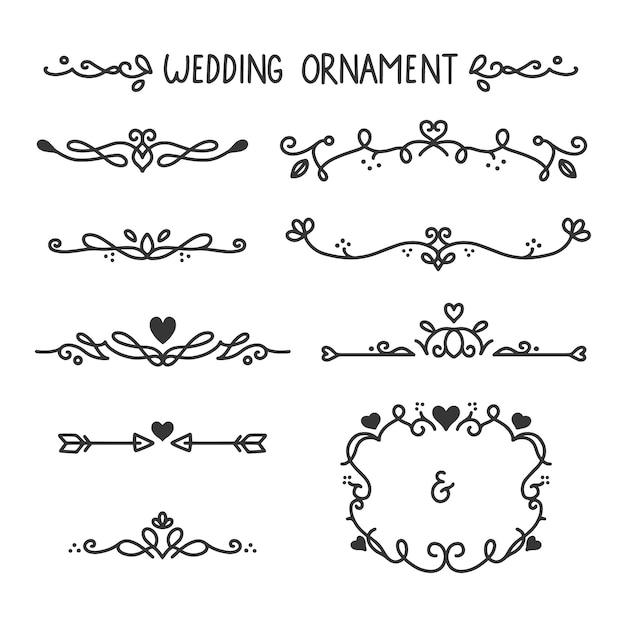 Ornamenti di nozze disegnati a mano Vettore Premium