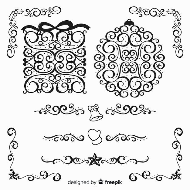 Ornamenti di puntini di natale curve Vettore gratuito