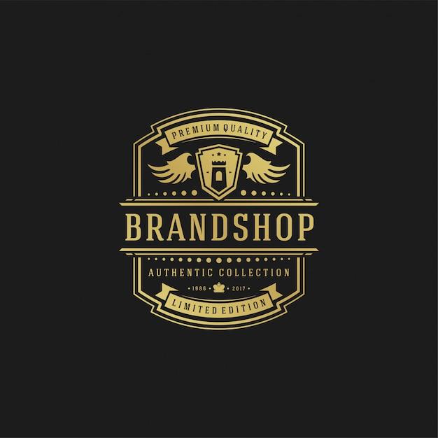 Ornamenti di scenografie di vittoriano dell'illustrazione di vettore del modello di progettazione di logo di lusso. Vettore Premium