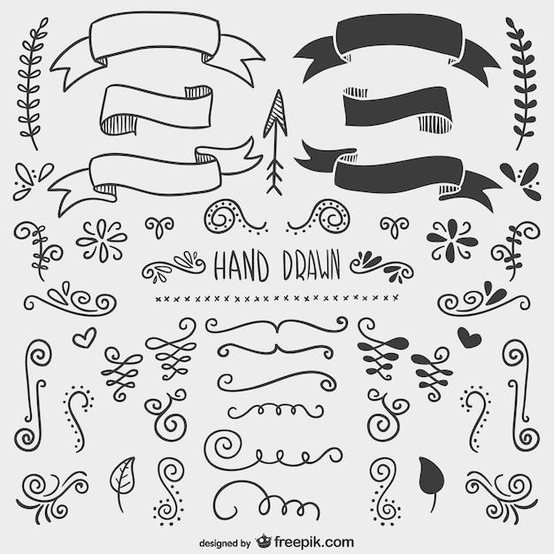 Ornamenti disegnati a mano Vettore gratuito