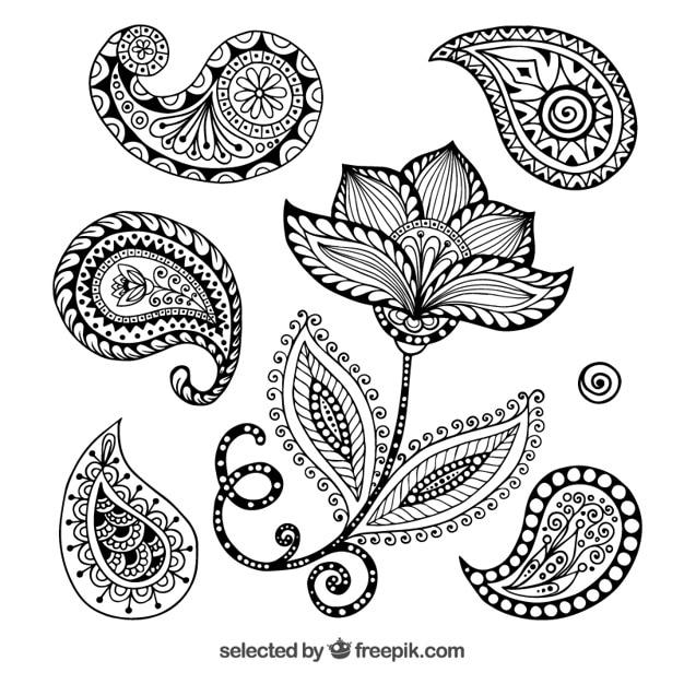 Ornamenti henna Vettore gratuito
