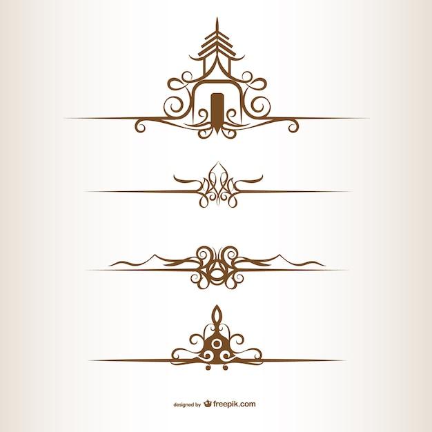Ornamenti in stile tailandese Vettore gratuito