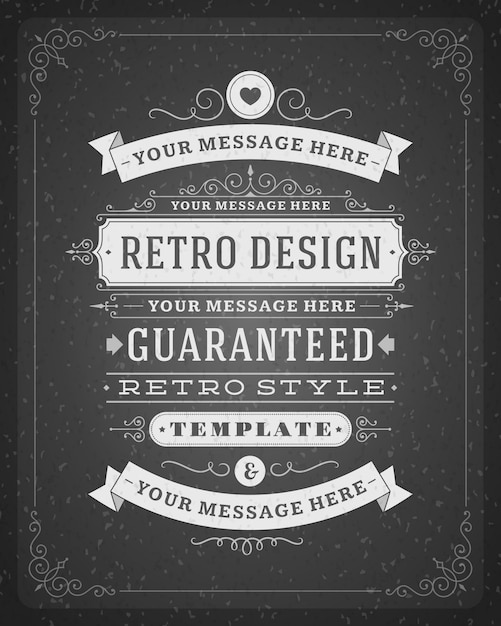 Ornamenti vintage turbinii e decorazioni di pergamene con tipografici Vettore Premium