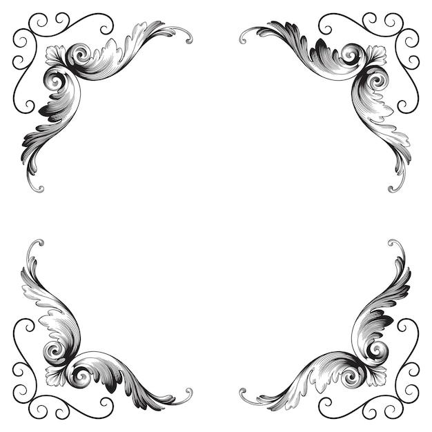 Ornamento barocco classico. elemento decorativo di design in filigrana. Vettore Premium