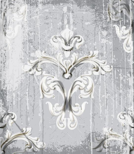 Ornamento d'argento d'epoca Vettore Premium