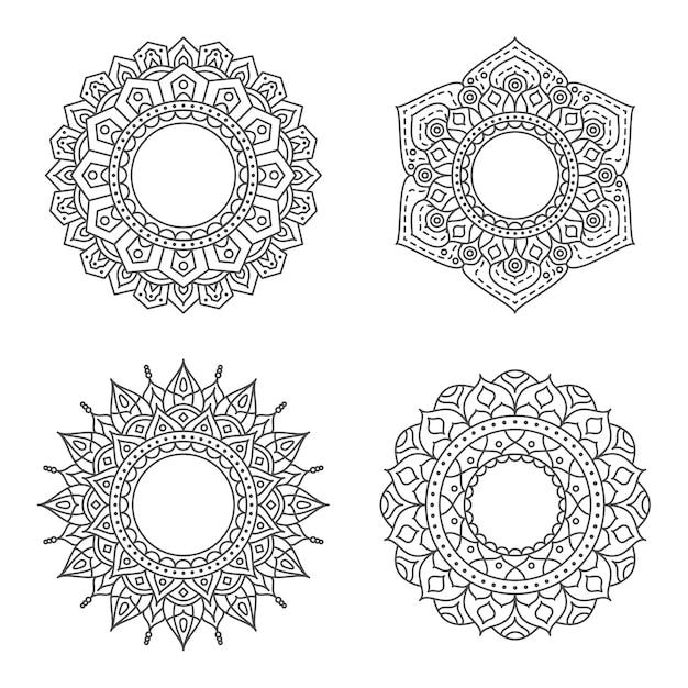 Ornamento del cerchio astratto con il concetto di fiore Vettore Premium