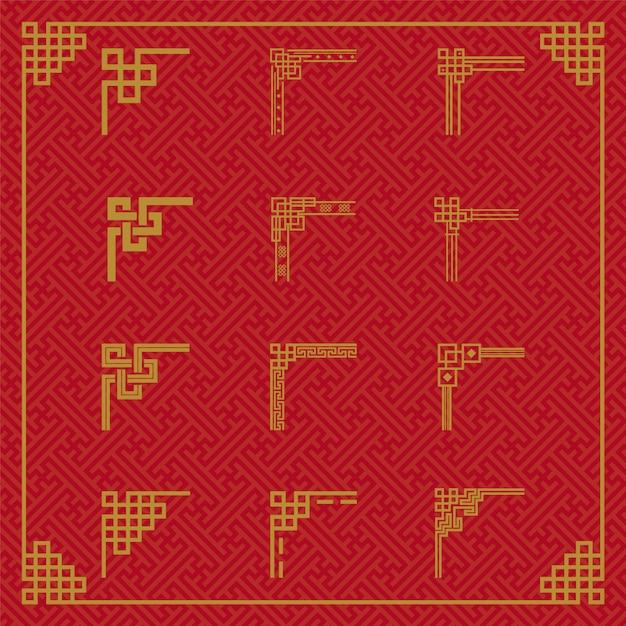 Ornamento di confine cinese Vettore Premium
