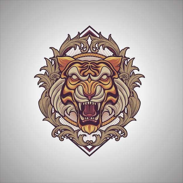 Ornamento di tigre Vettore Premium