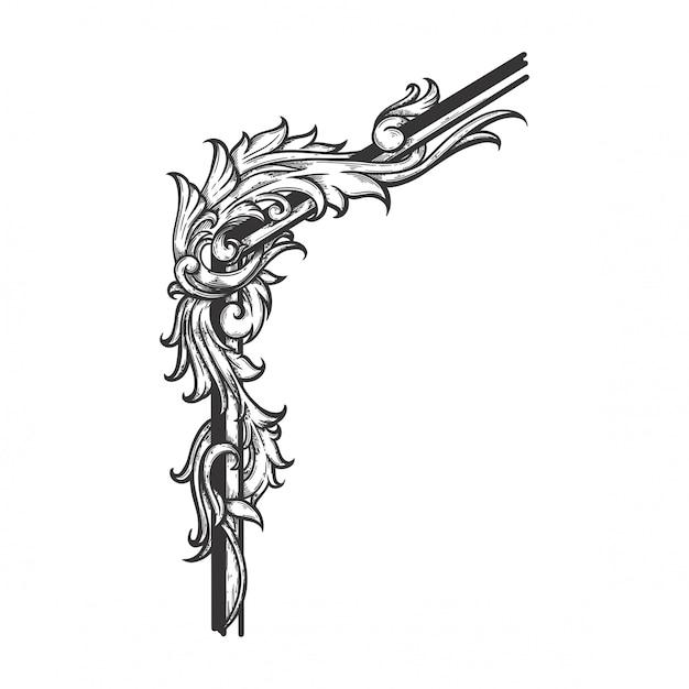 Ornamento floreale barocco per bordo cornice e angolo. Vettore Premium