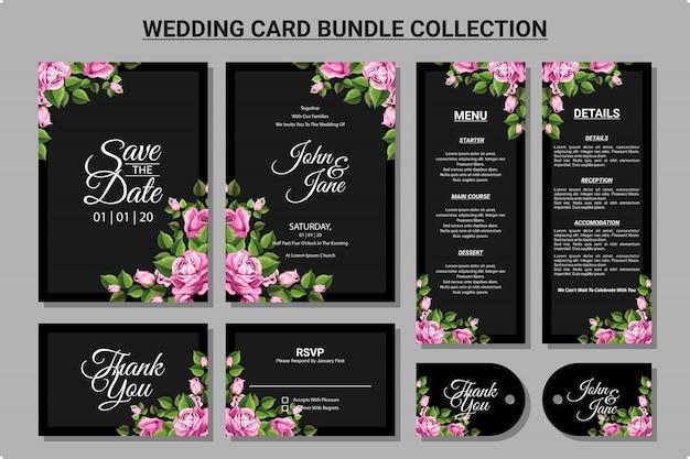 Ornamento floreale per set di raccolta del pacchetto di carta di nozze Vettore Premium