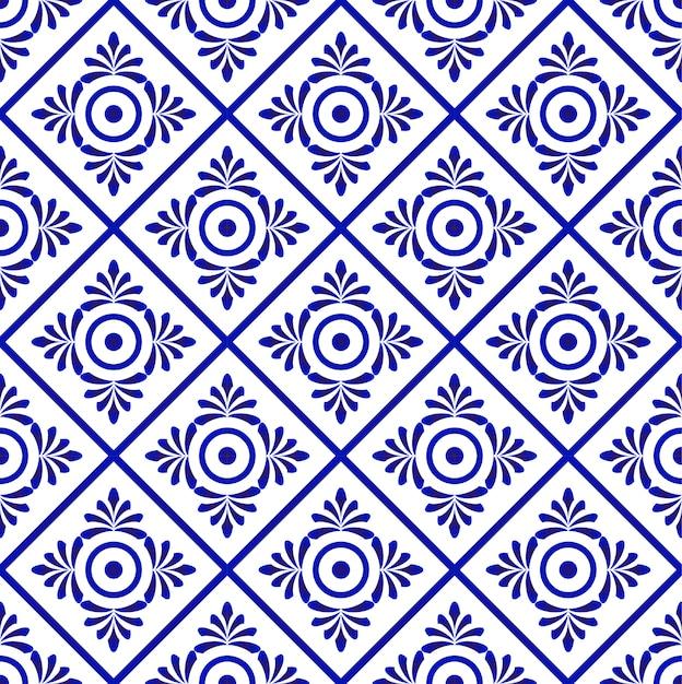 Ornamento floreale sullo stile del damasco del contesto dell'acquerello, modello blu e bianco senza cuciture Vettore Premium