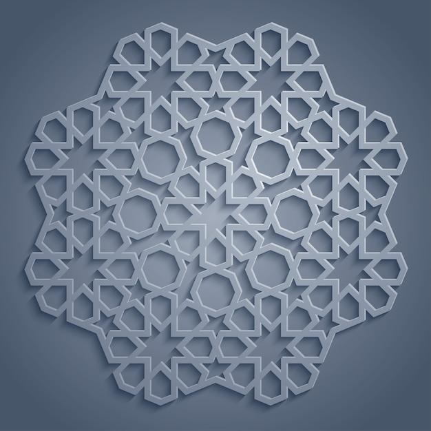 Ornamento geometrico arabo rotondo del modello Vettore Premium