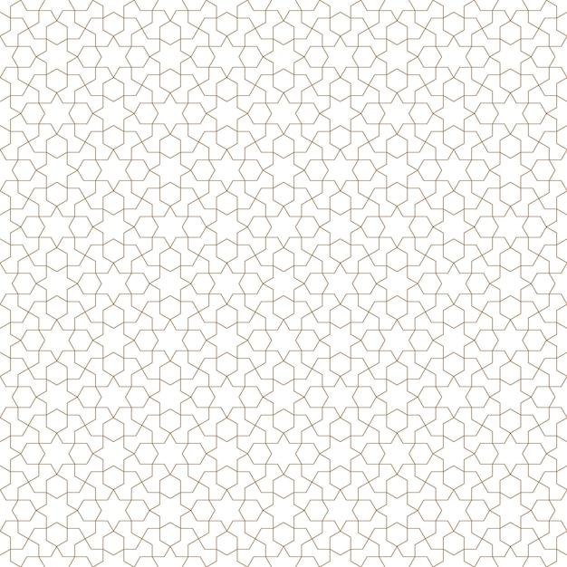 Ornamento geometrico arabo senza cuciture nel colore marrone. Vettore Premium