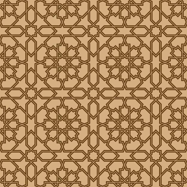 Ornamento geometrico senza cuciture basato su arte araba tradizionale. Vettore Premium