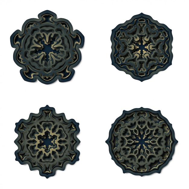 Ornamento mandala sfondo, taglio laser decorazione Vettore Premium