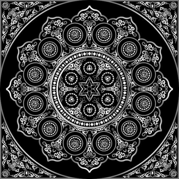 Ornamento rotondo grigio su nero - stile arabo, islamico, orientale Vettore Premium