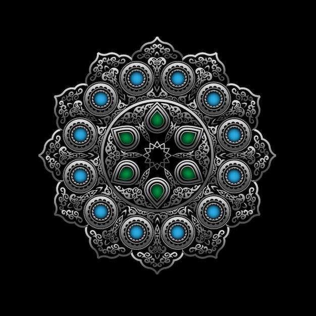 Ornamento rotondo in argento con gemme blu e verdi - stile arabo, islamico, orientale Vettore Premium