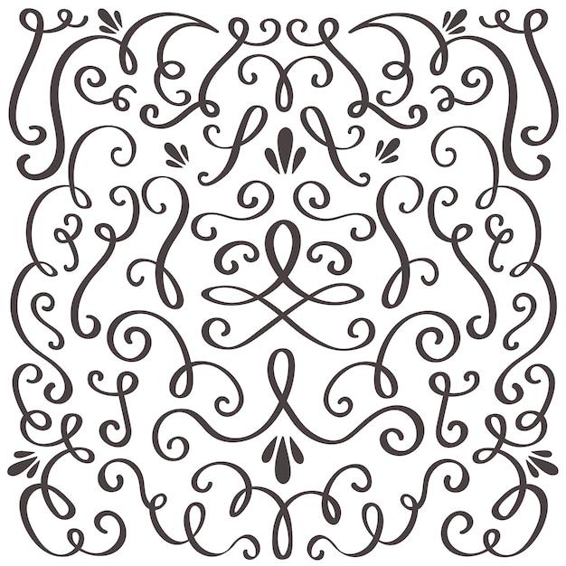 Ornamento vintage roteato, bordo vorticoso e cornice semplice. Vettore Premium