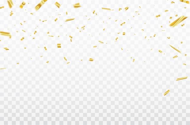 Oro confetti nastri di carnevale di celebrazione. Vettore Premium