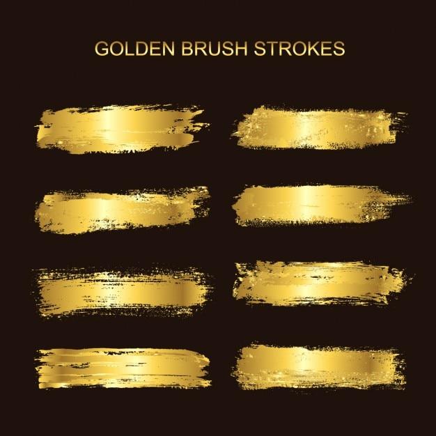Oro pennellate collezione Vettore gratuito