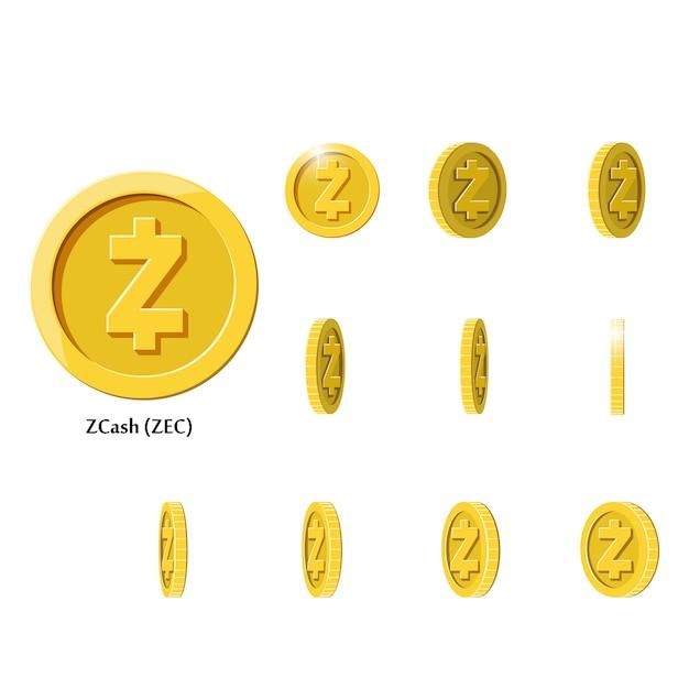 Oro ruota monete zcash Vettore Premium