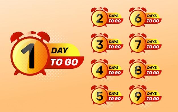 Orologio con numero di giorni a sinistra segno. giorno di andare. Vettore Premium